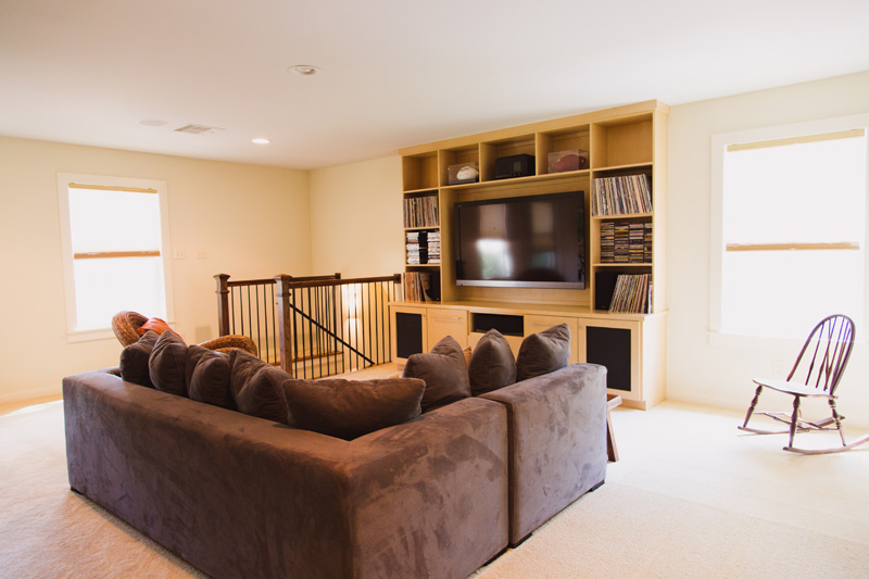 The upstairs great room is the perfect place for watching a big game or a big movie.