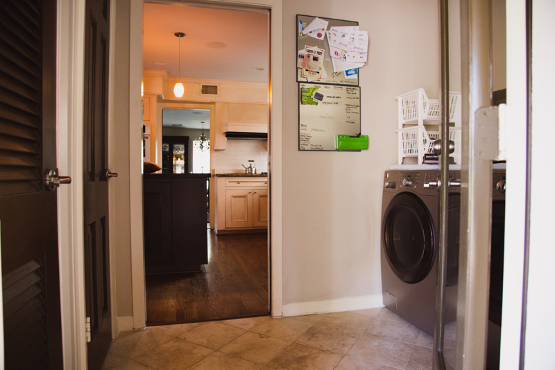 The laundry area is separated from the home, so you can remove yourself from the noise.