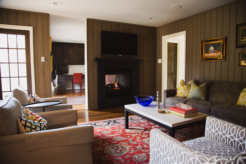 The living room and office area share a double-sided fireplace to make the upcoming holidays a little bit warmer.